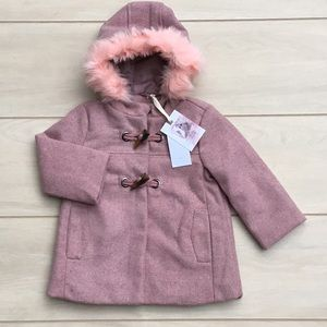 🆕 Jessica Simpson Baby Girl's Wool Toggle Coat